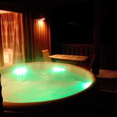 Milou Hot Tub at night